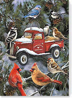 Train Tractor and Car Christmas Card | 75410